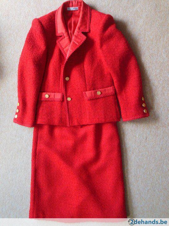 Rood Mantelpakje Paula Klein - Chanel-stijl - maat ong. 38 - Te koop
