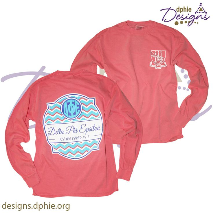 Delta Phi Epsilon Watermelon Chevron Comfort Colors Long
