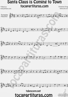 Partitura de Santa Claus Is Coming To Townpara Trompeta y Fliscorno Villancico Christmas Song Carol Sheet Music for Trumpet and Flugelhorn M...