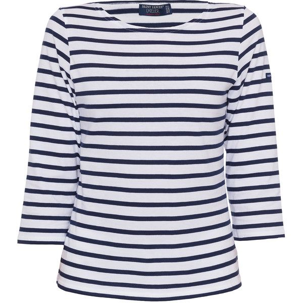 Saint James Galathee White And Navy Striped Shirt (340 BRL) ❤ liked on Polyvore featuring tops, white, white tops, navy blue striped shirt, white stripes shirt, stripe shirt and boat neck tops