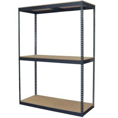 Storage Concepts 3-Shelf Steel Boltless Shelving Unit with Double Rivet Shelves and Laminate Board Decking - 96 in H x 60 in W x 24 in D-P2B3-6024-96WH at The Home Depot