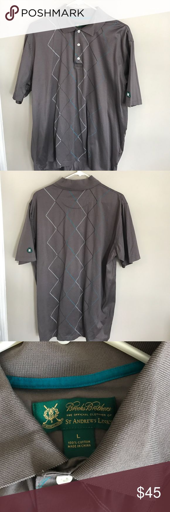 BROOKS BROTHERS Men's Cotton Polo Shirt Sz L Beautiful Shine Cotton Mushroom Colored Argyle Detailed Polo Shirt. Excellent Gently Worn Condition. Brooks Brothers Shirts Polos
