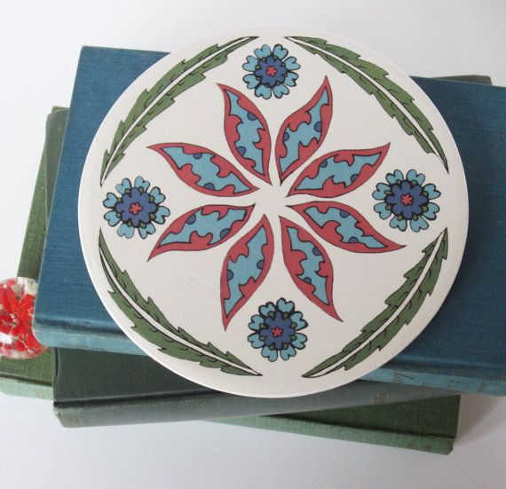 Ottoman Inspired Floral Pattern Round Ceramic by JFTalbotDesigns