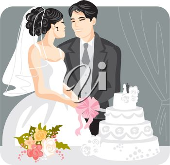 iCLIPART - Bride and Groom Cutting the Cake