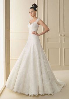 Luxury Straps A line Floor Length Natural Waist Chapel Train Wedding Dresses - Lunadress.co.uk