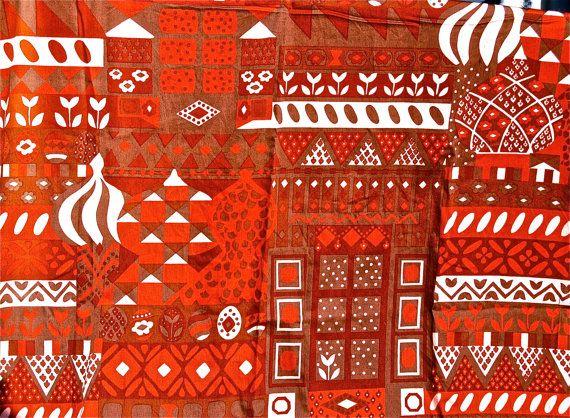 BIG SALE Vintage 1970s Finnish Fabric Marjatta by TulipanFarm, $79.99