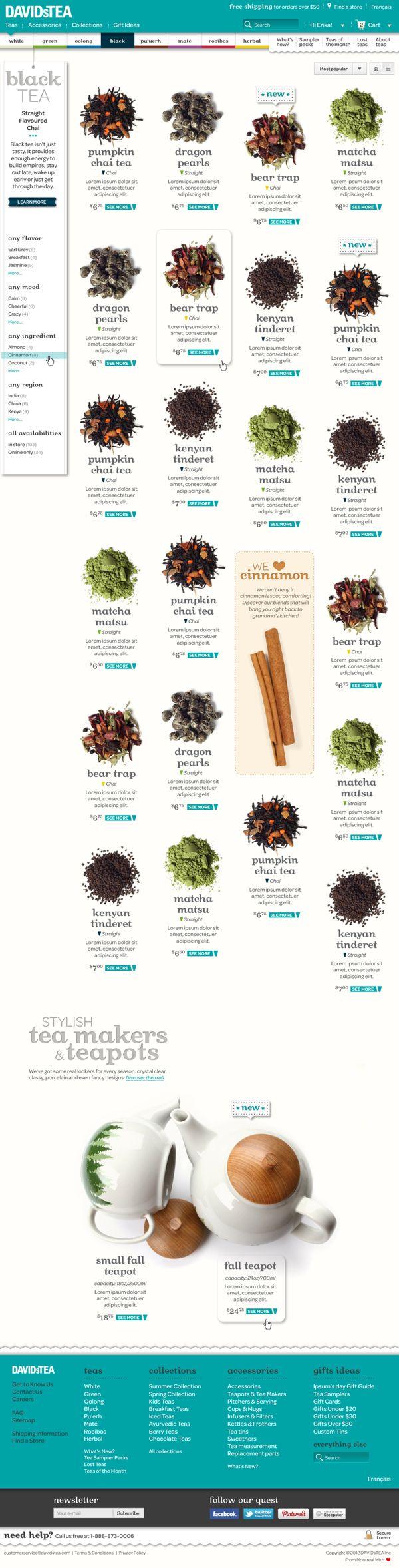 David's Tea Refonte Design by Pierre-Benoit Lemieux, via Behance