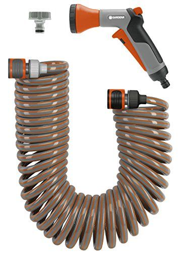 Gardena 4647U 33Foot Spiral Coil Garden Hose and Nozzle Set >>> Continue to the product at the image link.