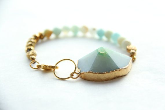Blue/green Agate bracelet with Amazonite and golden beads by Somsri, $50.00 #somsri #Jewelry #Jewellery #Stone #Crystal #Handmade #Handmadejewellery #Handmadejewelry #Gemstone  #Blue #Green #Bluebracelet  #Greenbracelet #Beaded #Bracelet #Beadedbracelet #Crystalbeads #Gold #Goldbracelet #Gemstonebracelet #Agate #Agatebracelet