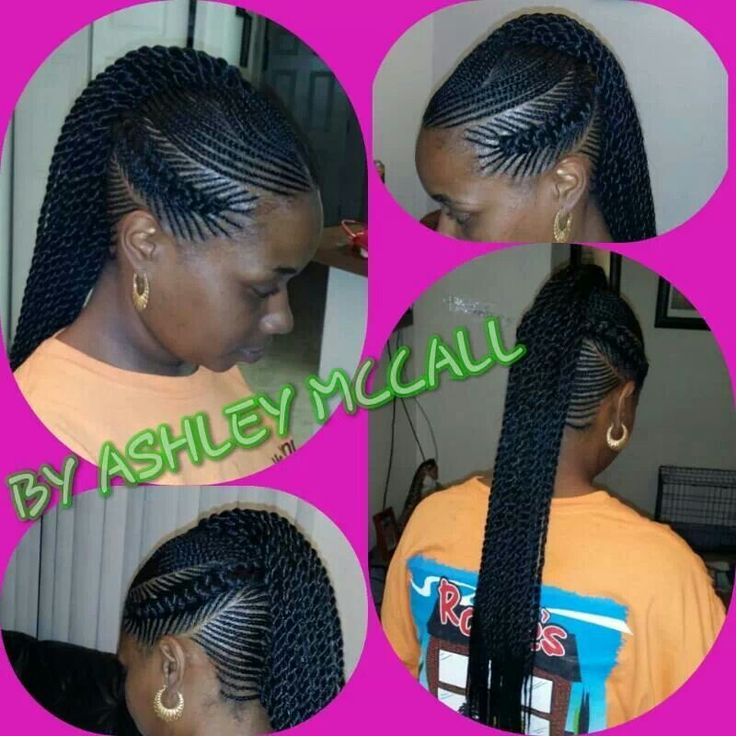 Flat braids with twists | Extension braids | Pinterest