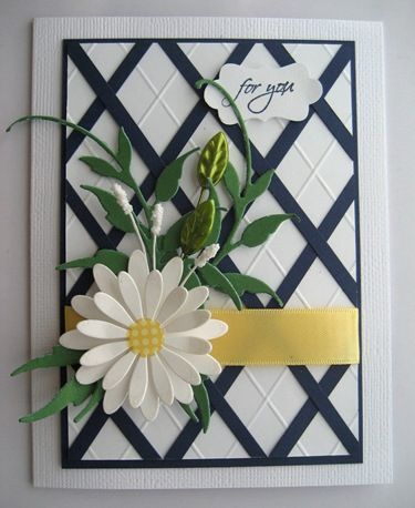 lovely lattice card ... score lines and paper strips form a diamond lattice in the background ... gorgeous die cut daisy and folliage  from a corner posey ... Stampin' Up!