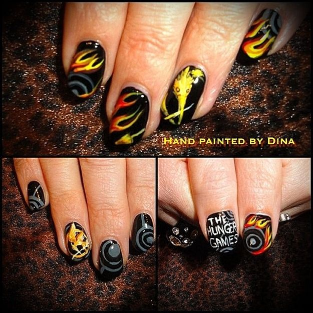 Hunger Games nails, not really interested in that aspect, but there are some great fire nails!