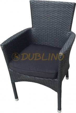 DL RITZ BRUSHED BLACK - Exterierové kreslo s hliníkovou konštrukciou a výpletom z umelého ratanu