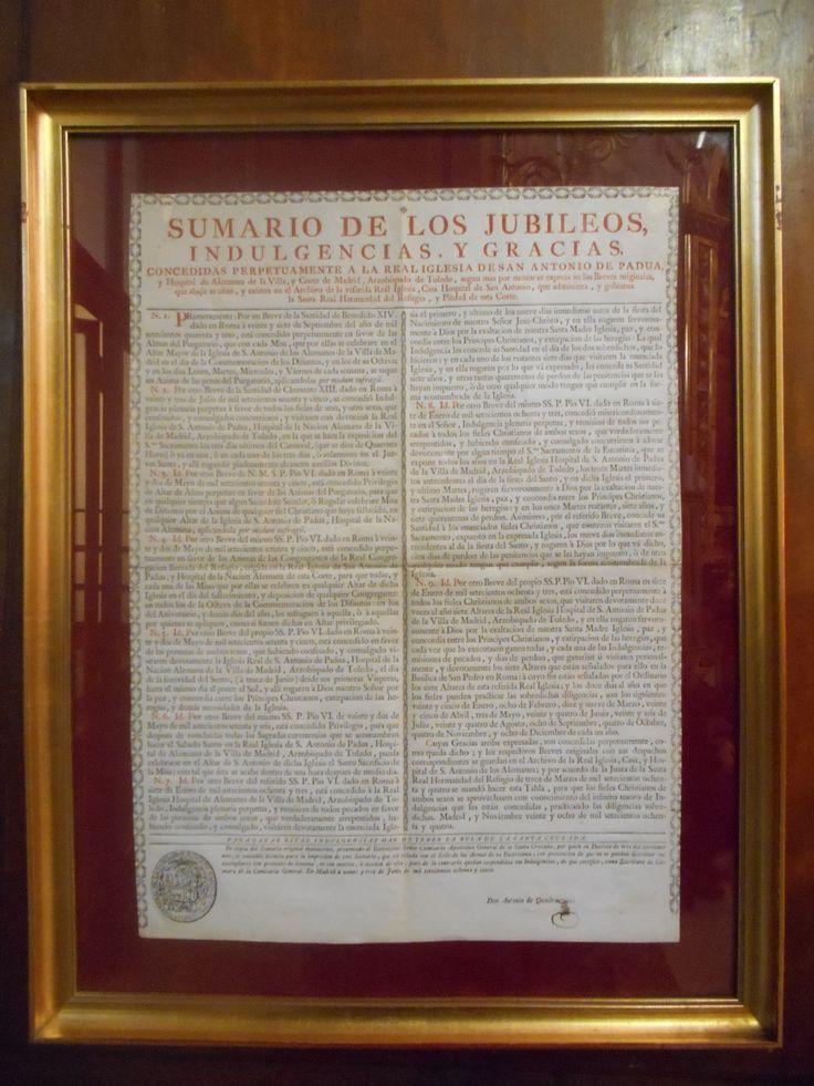 Tablón de Indulgencias de la Iglesia de San Antonio de los Alemanes