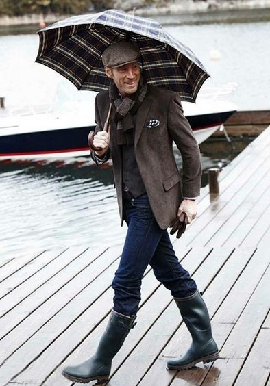 Hunter mens rain boots, tweed blazer, waistcoat, pocket square, scarf, leather gloves, plaid umbrella
