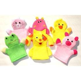 Washcloth Hand Puppet Terrycloth Washmitt Set of 3 - Froggy, Kitty, Puppy, Piggy, Duckie & Hippo.  List Price: $44.95  Sale Price: $18.95  Savings: $26.00Puppets Terrycloth, Hand Puppets, Baby Toys, Washmitt Sets, Terrycloth Washmitt, Hands Puppets, Washcloth Hands, Animal Froggy, Bath Time