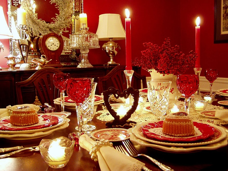 red: Table Decorations, Table Settings, Idea, Valentines Dinner, Dinner Table, Valentines Day, Tablescape, Valentine S, Romantic Dinner