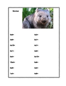 MULTIPLICATION AND DIVISION PRACTICE TABLES 1-10 AUSTRALIAN ANIMALS WORKSHEETS - TeachersPayTeachers.com
