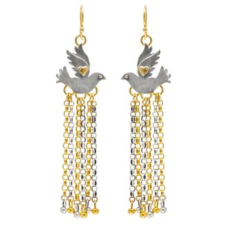 Paloma Chain Drop Earrings.  Beautiful dove earrings with multi chain drops in silver with gold plated detail.  Sophie Harley, Beautiful Designer PE64 from the Papillion Rose collection.
