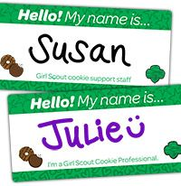 Girl Scout Cookie name tags for Girl Scouts and Adult Volunteers.