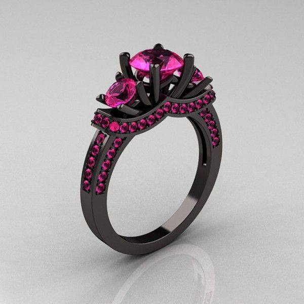 Celestine Three Stone Solitare Black Gold Sterling Silver with Pink Stone CZ Ring