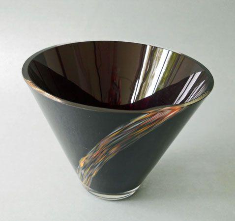 Jaroslav Taraba, glass bowl decored by multi-colored molten stream, H: 25,0 cm, glassworks Lednicke Rovne, Czechoslovakia