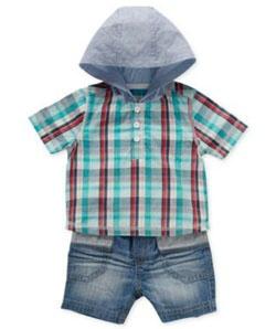 Hooded Check Shirt & Denim Shorts