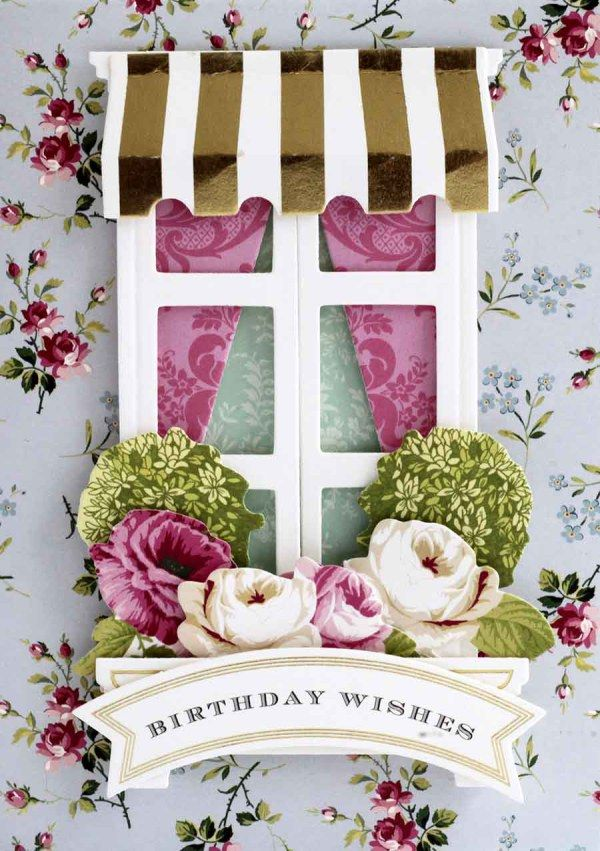August 16th, 2017 Product Preview 1 | Anna's Blog - Window Ledge Card Making Kit (single-ship) - creates window front cards that your decorate with curtains and window boxes, receive 20 cards, 20 card layers, 20 sentiment stickers, 20 interior sentiments, 184 die cuts, 20 die cut windows, 20 envelopes and 14 cut and emboss dies