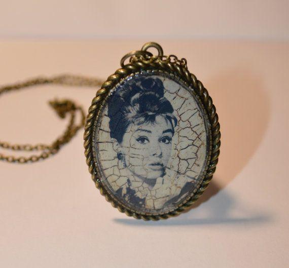 Audrey Hepburn Necklace - Vintage Looking Brass Pendant