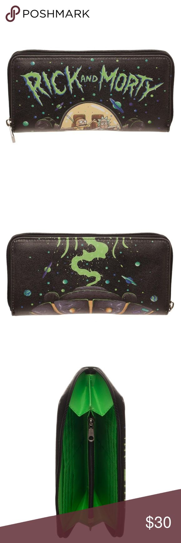 """Rick and Morty Zip Around Women's Wallet Official This is for 1 Rick and Morty themed zip-around wallet.   Very nice wallet that zips around.  It features Rick and Morty in their ship.  Inside there's plenty of room for cards and cash.  Produced by Bioworld.  Officially Licensed.  Theme: Rick and Morty - Officially Licensed Pattern:   Rick and Morty in their Ship Style:  Zipper Wallet Size: Approx. 7.5"""" x 4"""" Brand: Bioworld  Perfect for any fan of Rick and Morty!  Makes a great gift…"""