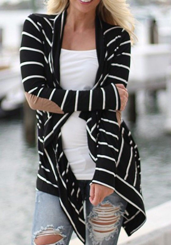 Black and White Striped Long Sleeve Irregular Fashion Cardigan #Comfy #Cozy #Fall