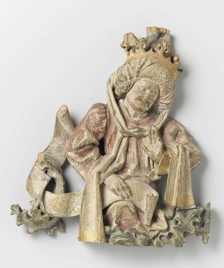 Roi, fragment d'un arbre de Jessé, Arnt Zwolle, ca 1480 - ca 1485  chêne avec traces de polychromie, h 23,5 cm.