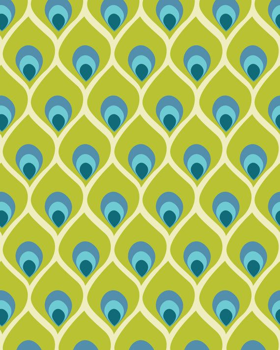 Modern Peacock Feather Blue Green Abstract Pattern Print 8x10