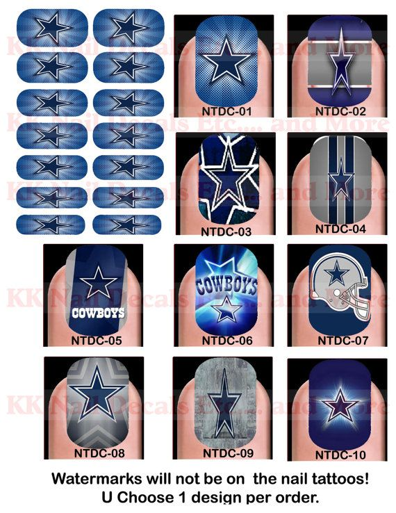 Nail Tattoo Decals  Dallas Cowboys by KKNailDecals on Etsy, $15.00