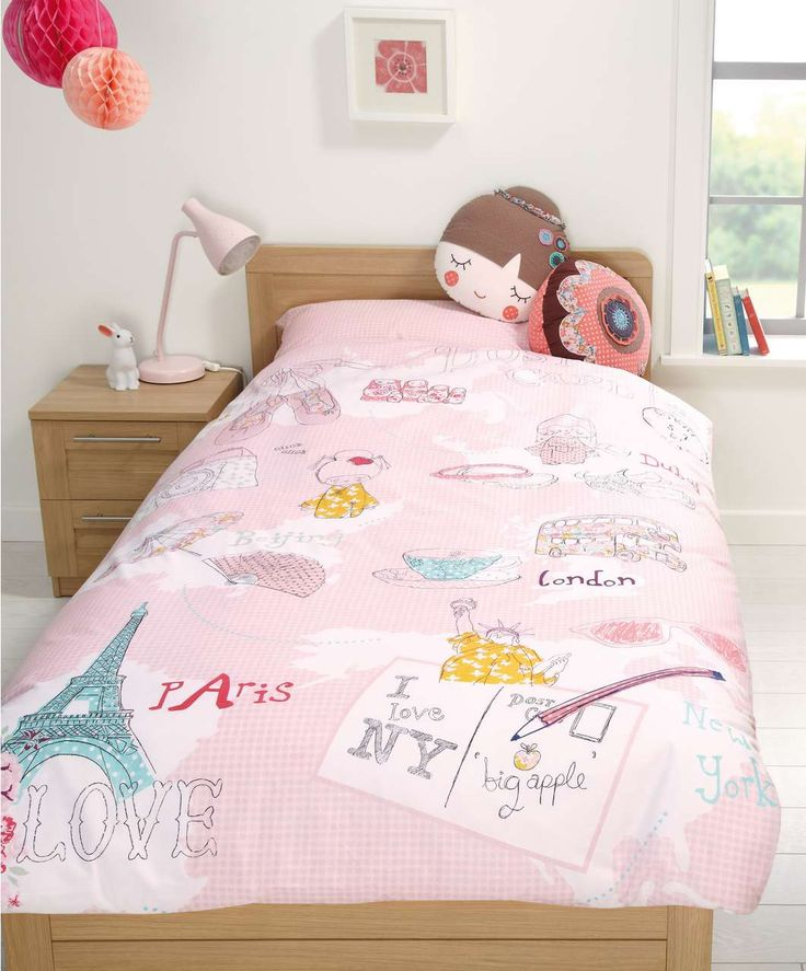 Kids girls map single duvet cover and pillowcase set kids bedding mamas