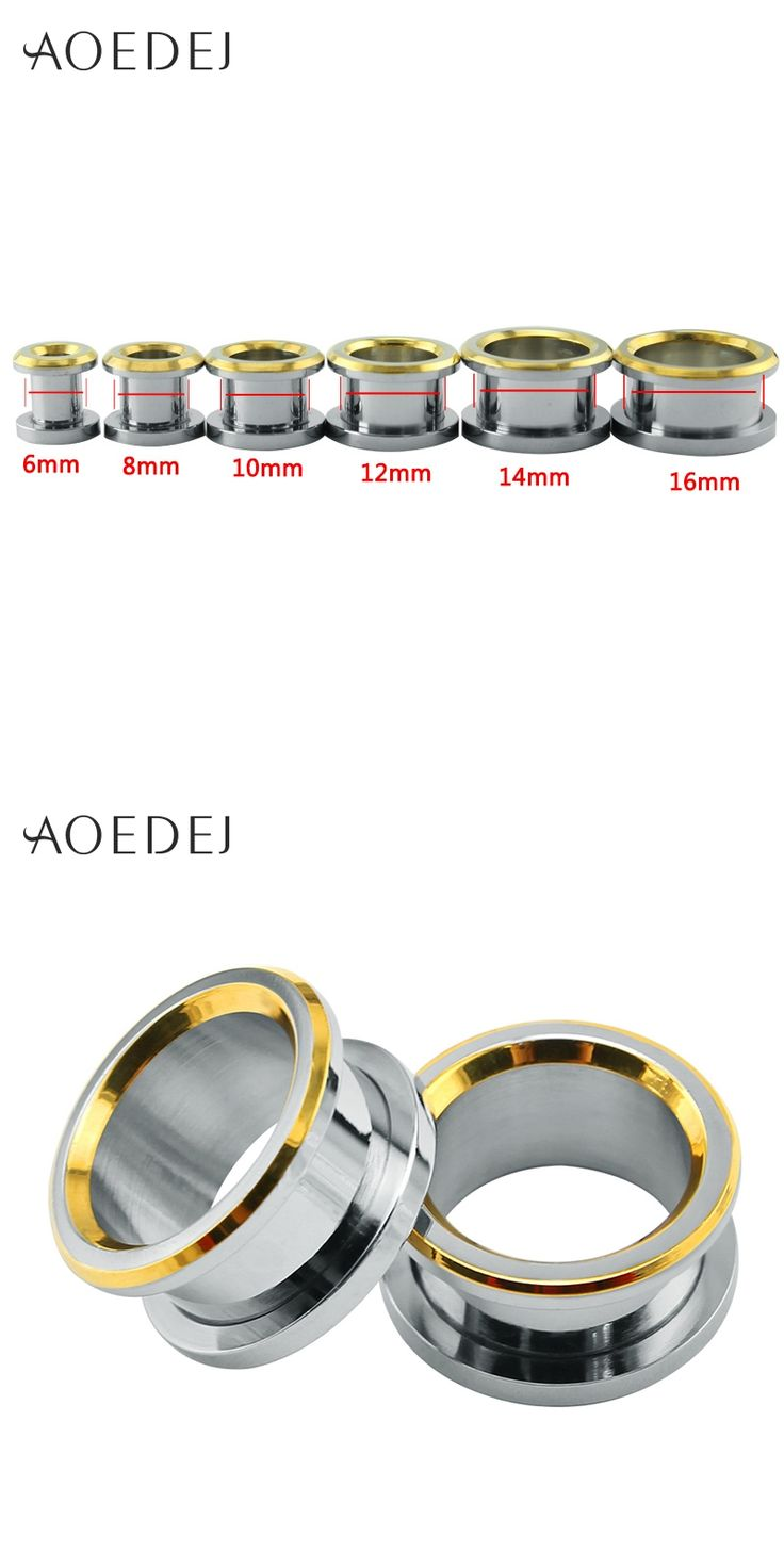 6-16mm Ear Plugs Tunnels Gold Stainless Steel Piercing Plug 16mm Metal Oor Expander Piercing Stretchers Oren Piercing Ear 8mm