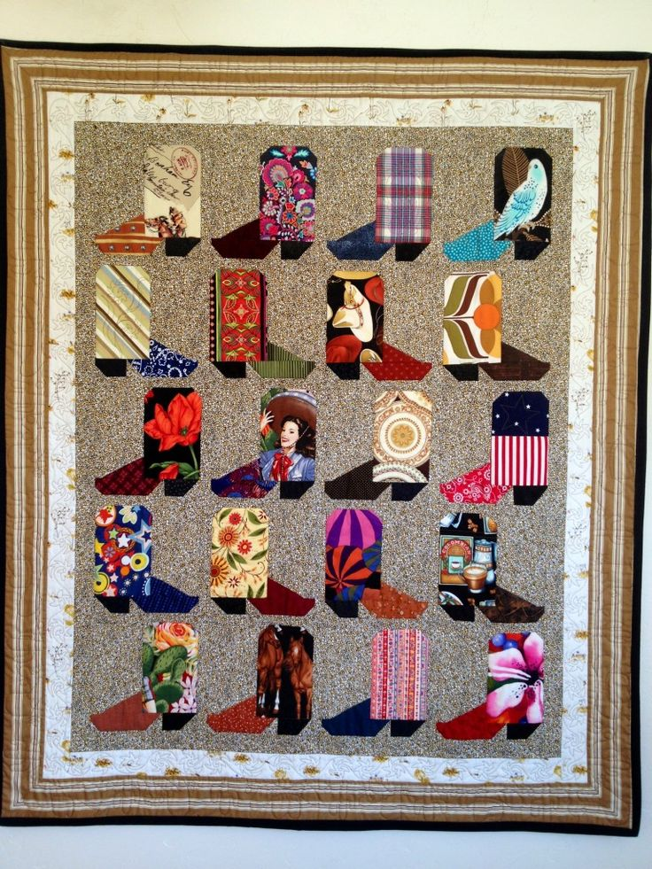 cowboy boot quilt pattern and tutorial...would love to do 4 blocks like this in the corners of a quilt or 2 in opposite corners & 2 horse shoes in the other 2 corners