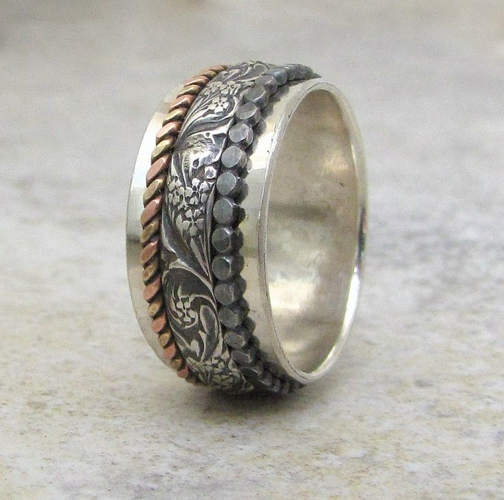 Silver Spinner Ring Floral Dot Brass/Copper Twist by SilverSmack