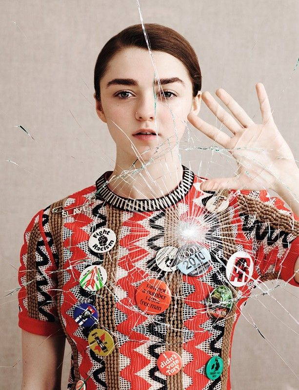 embroidered+top+by+Louis+Vuitton;+badges+from+Costume+Studio Maisie Williams: absolutely lawless