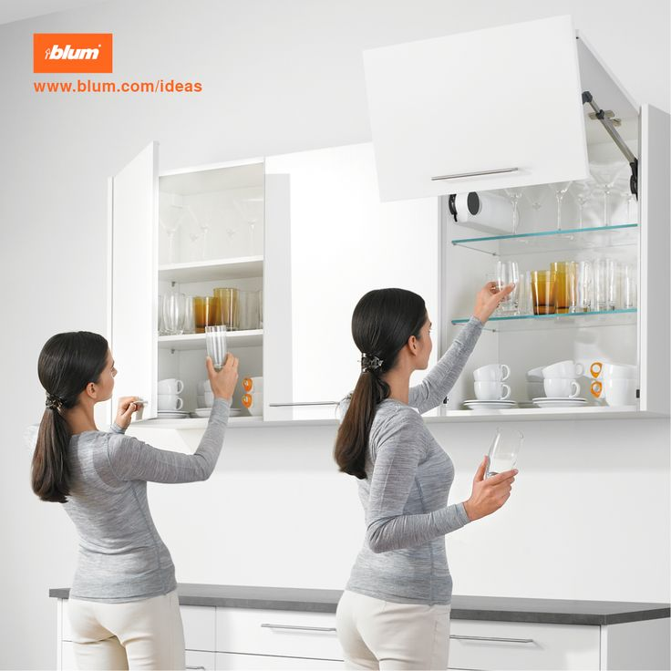 No more doors in front of your face! Lift systems are an ideal ergonomic solution for wall units in your kitchen. Fronts open upwards to provide unhindered access to the cabinet interior. Even heavy doors open easily, stop in every position and close soft and silent.  Read more information on ergonomic features in your kitchen on www.blum.com/ideas