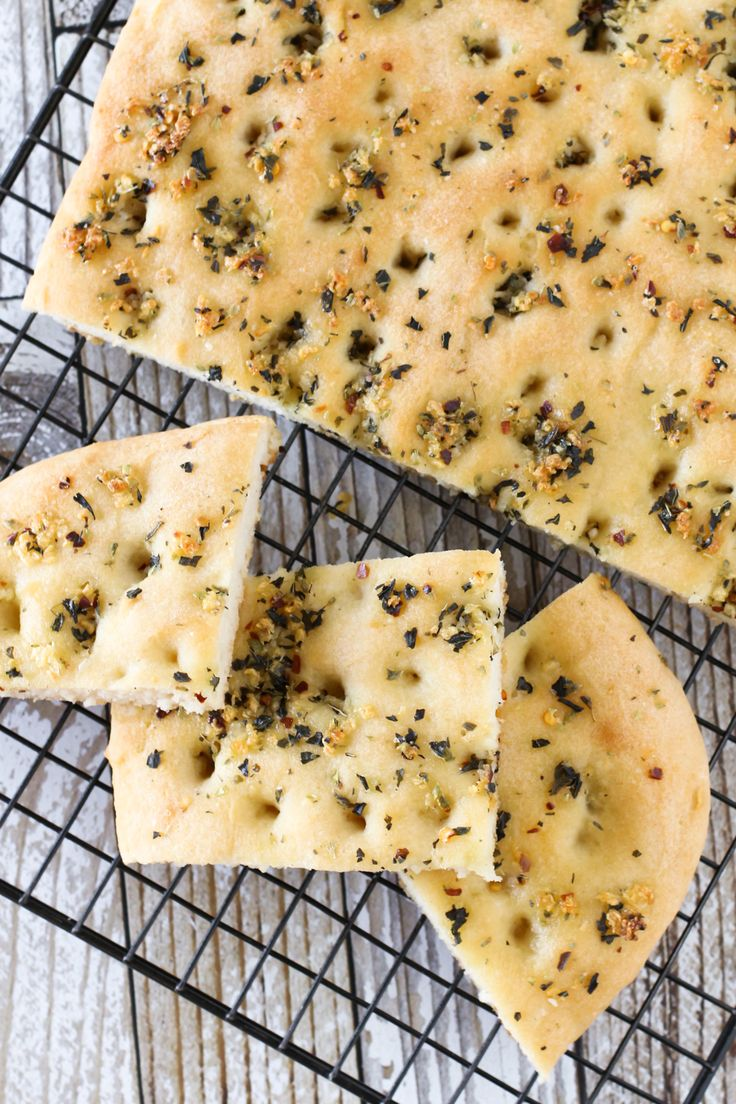 Gluten Free Vegan Garlic Herb Focaccia Bread. Warm, soft yeast free bread, covered in herbs and fresh garlic. Oh so good!