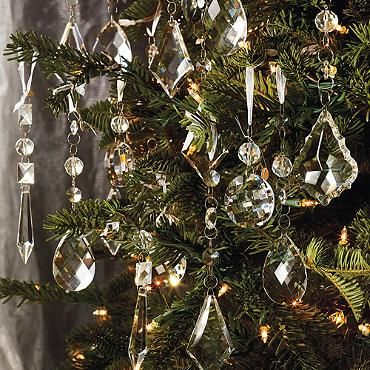 "Crystal Droplets with Silver Hangers - Set of 24 Crystal Droplet Ornaments 6"" to 6-1/2""L."