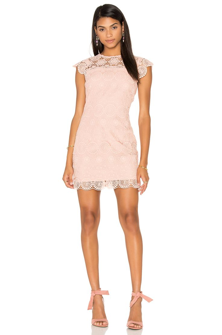 Endless Rose Crew Neck Lace Mini Dress in Nude Pink   REVOLVE