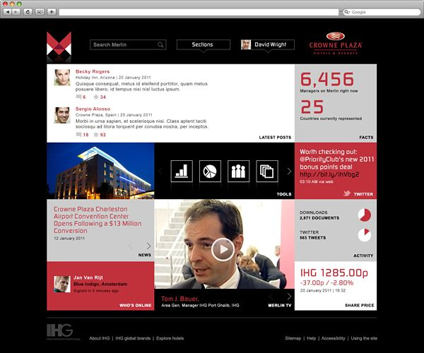 Intercontinental Hotels Group Intranet by Dave Adamson, via Behance