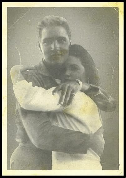 An old picture of Elvis and Priscilla , love it. Looks like he is in his army uniform and that means she was 14 or 15. She was 14 when they met.