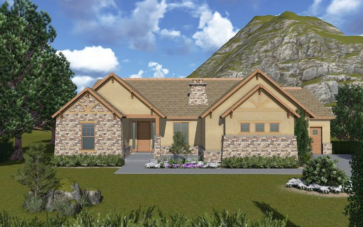 Bluffdale A Mountain Rustic Style Rambler House Plan