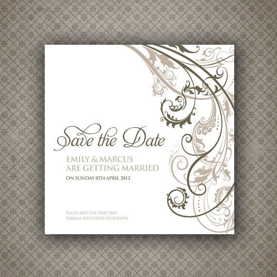 Save the Date Card - Digital Printable File - Baroque Wedding Range - Wedding Invitation. £15.00, via Etsy.