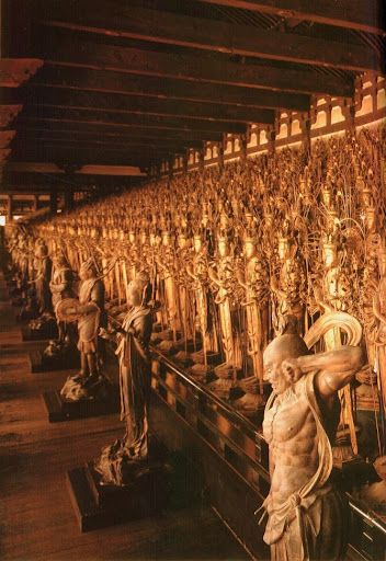 Temple of 1000 Buddhas (sanjusangendo) in Kyoto, Japan... I actually visited this place. It was deeply moving, as if you could feel the prayers of all the people who had ever prayed there..