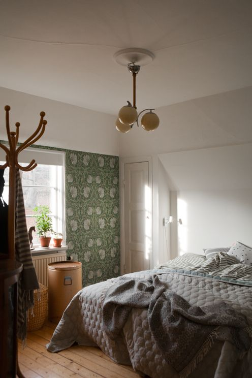 Anna Backlund lives here- looks like William Morris wallpaper...