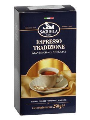 SAQUELLA 250g Espresso Tradizione Gran Miscela Gusto Dolce Kawa mielona  • dla wymagających kawoszy • średnia zawartość kofeiny • aromatyczna • doskonale zrównoważona